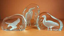 LOVELY TRIO OF QUALITY WEDGWOOD CRYSTAL GLASS PAPERWEIGHT HERON GOOSE DUCK