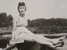 VINTAGE LAKE TOMAHAWK WI RENTAL GIRL SWIMSUIT FOOT FETISH LOVER FUNNY OLD PHOTO