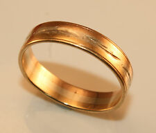 100% Genuine Vintage 9ct. Solid Rose & White Gold Band Ring With Etched Patterns