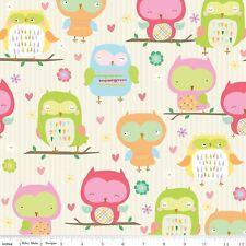 By 1/2 Yard Riley Blake Fabric Owl & Co. Owl Main Cream ~ Cute owls children's