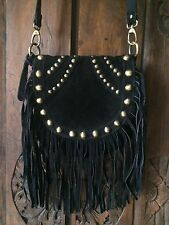 Top Shop Black Suede Leather Fringe Bag Boho Chic Coachella Festival