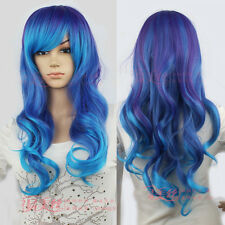 Lady Fashion Long Curly Wavy Hair Full Wig Lolita Blue Ombre Costume Cosplay