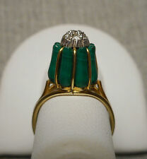 "1960's Modernist 14K Yellow Gold Malachite & Diamond ""Cupcake"" Ring - Size 6.25"