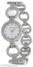 Style & Co Silver Tone Bracelet White Dial Crystals Women's Watch SC1014