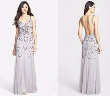 Adrianna Papell Heather Grey Beaded Backless Mesh Art Deco Gown NWT Size 12 $376