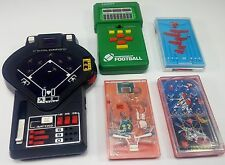 Vintage Lot of 5 Handheld Electronic & Mini Pocket Pinball Games, Tomy, Tandy