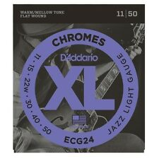 D'Addario ECG-24 XL Chromes Flat Wound Electric Guitar Strings 11-50 jazz light