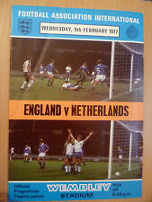 1977 International Match Programme ENGLAND v NETHERLANDS 9th February