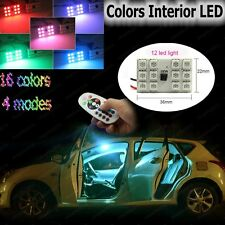 2x 12SMD Panel Interior Light Package Kit Remote Control RGB LED Dome Map Lights