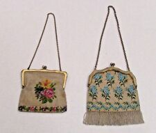 Antique Glass Mirco Bead Floral Purse Bag With Sterling Handle & Chain Set of 2