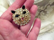 Vintage Gold tone Rhinestone Crystal Kitty-Cat Pin/Brooch Classic Black-White