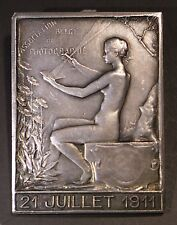 Superb silver art nouveau plaque on photography by Fernand Dubois attr. in 1911