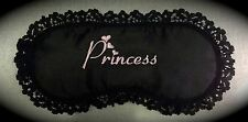 Top Quality Black Satin and Lace Princess eye sleep mask blindfold