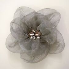 JEWELED SHEER FASHION FLOWER HAIR CLIP/PIN BROOCH