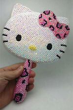 Bling Deluxe Leopard Hello Kitty Crystal Makeup Hand Held Mirror! Best Gift!