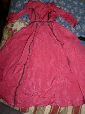 Large ANTIQUE BISQUE CHINA DOLL DRESS  hot pink w lace trim handmade