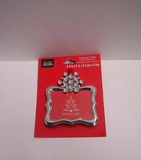 """New ORNAMENT PICTURE FRAME Christmas Silver/Jewel Snowflake Fit Photo 2.5""""Wx2""""H"""