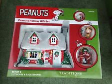 Department 56 PEANUTS /SNOOPY HOLIDAY GIFT SET/4 - #4056426 - MINT-Lighted