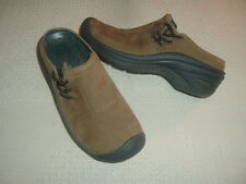 Keen brown nubuck leather clogs shoes 5.5 5 1/2 EUC