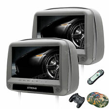 """9"""" Gray Dual DVD/USB/HDMI/SD Car Headrest Monitors + Video Games With Flat Cover"""