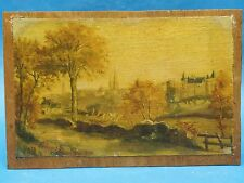 FANTASTIC  SIGNED 1918 TONALIST VITRE FRANCE LANDSCAPE PAINTING  by A. TURIN