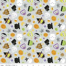 Riley Blake Halloween Ghouls & Goodies Fabric.Main Grey.GLOW IN THE DARK -Per FQ