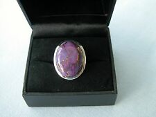 LOT 412 STUNNING PURPLE COPPER TURQUOISE SOLID STERLING SILVER RING SIZE I 1/2