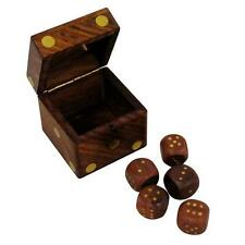 Indian Handmade Dice Set of 5 Brass Inlayed Dots and Large Die Container Game
