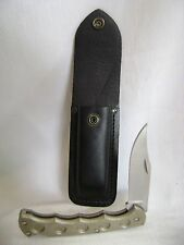 NICE BUCK KNIFE 110T TITANIUM FINGER GROOVE FOLDER WITH 110 LEATHER SHEATH
