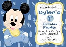 Mickey Mouse Template For Baby Shower or Birthday Party Invites DIY