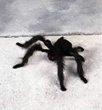 Black furry spider with fluffy legs Halloween party decoration