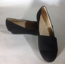 G.C. Shoes Women US 7.5 Black Suede Leather Wedge Heel Comfort Insole Work Shoes