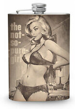 Not So Pure Girl Flask 8oz Stainless Steel Whiskey Drinking Flasks Vintage Pinup