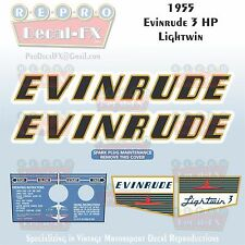 1955 Evinrude 3 HP Lightwin Outboard Reproduction 6 Pc Vinyl Decals 3014-15-16