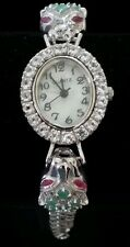 NEW 14K WHITE GOLD STERLING SILVER EMERALD RUBY TOPAZ MULTI CAT PANTHER WATCH