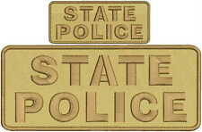 state police embroidery patches 4 X 10  and 2x5 brown tan