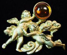 Retired LEE SANDS AMBER Cabochon ANGEL/CHERUB Figural PIN/Brooch,fjt