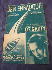 Partition Je m'embarque Lys Gauty 1942 Music Sheet