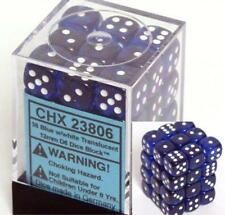 Chessex Dice d6 Sets Blue w/ White Translucent 36 12mm Six Sided Die CHX 23806