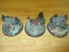 """Set of (3) Thomas Kinkade Lighted Figurines 5""""D x Appr 3""""H House Cottage WORKING"""