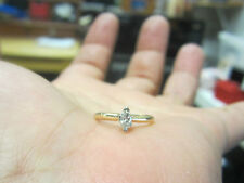 +  14K Yellow GOLD RING Marquise DIAMOND ENGAGEMENT size 3.75 PROMISE 0.20 tcw
