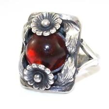 VTG N. E. From Sterling Silver Modernist Baltic Amber Flower Ring Size 6.5