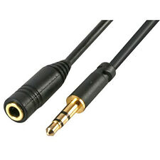 3.5mm Mini Jack Slim Plug to Socket Stereo Headphone Extension Lead Cable - 1.5m