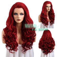 """26"""" Long Curly Red Lace Front Wig Heat Resistant"""