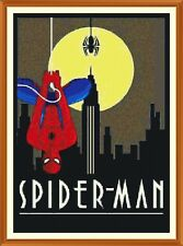 ART Deco Spiderman cross stitch chart x 12.0 x 8.4 pollici