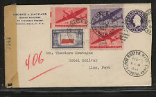 US  nice censor airmail cover to  Peru   1944                  KL1104