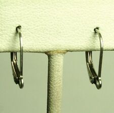 Solid 14K white gold open ring interchangable leverback earrings