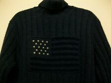 RALPH LAUREN Wool Hand Knit Roll Neck Jumper XL 90s Vintage USA Flag Christmas