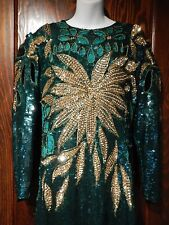 VINTAGE HEAVILY SEQUINED BALL GOWN maxi dress embellished beaded 80's cutout 3F