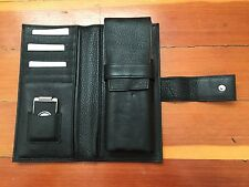 PIQUADRO Black Leather Flask & Cigar Holders Cutter Wallet NEW  ITALY